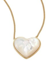 Tory Burch Amore Mother Of Pearl Heart Pendant Necklace