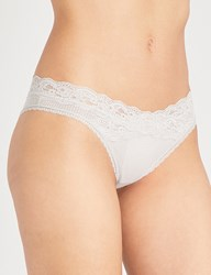 Passionata Brooklyn Tulle And Floral Lace Tanga Briefs Stone Grey