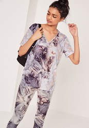 Missguided Marble Print V Neck T Shirt Grey Grey