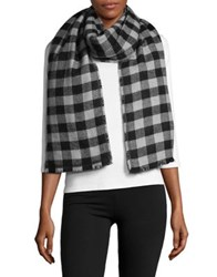 Lord And Taylor Reversible Blanket Wrap Scarf Black Grey