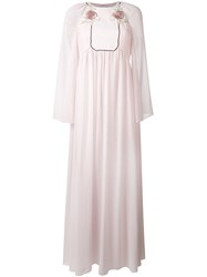 Giamba Long Rose Embroidered Bib Dress Women Polyester Viscose 42 Pink Purple