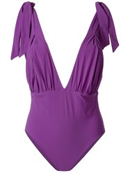 Carine Gilson V Neck Soft Bra Swimsuit Pink And Purple