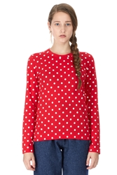 Comme Des Garcons Polka Dot Long Sleeve T Shirt Red White Red