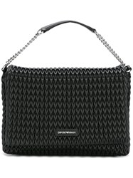 Emporio Armani Textured Shoulder Bag Black
