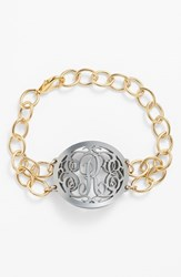 Women's Moon And Lola 'Annabel' Medium Oval Personalized Monogram Bracelet Gunmetal Gold Nordstrom Exclusive