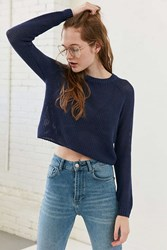 Silence And Noise Open Stitch Raglan Sleeve Sweater Blue