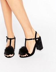 Office Sugar Pom Pom Block Heeled Sandals Black Velvet