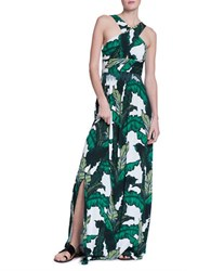 Tracy Reese Foliage Print Halter Dress Green Leaves
