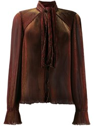 Marco De Vincenzo Pleated Long Sleeve Blouse Red
