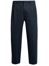 Fanmail Pleat Front Linen Straight Leg Trousers Navy