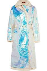Sies Marjan Devin Layered Iridescent Coated Shell And Cotton Canvas Trench Coat Platinum