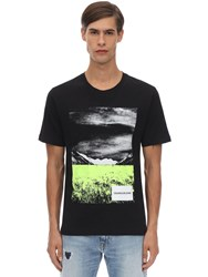 Calvin Klein Jeans Printed Cotton Jersey T Shirt Black