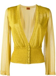 Missoni Sheer Sleeve Buttoned Cardigan Metallic