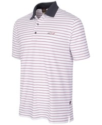 Greg Norman For Tasso Elba Men's 5 Iron Performance Striped Golf Polo White Red