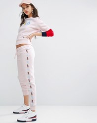 Fila Slim Leg Joggers With Tape Detail Baby Pink