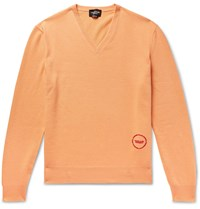 Calvin Klein 205W39nyc Logo Embroidered Wool And Cotton Blend Sweater Orange