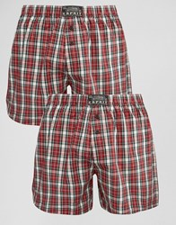 Esprit Woven Boxers 2 Pack Red