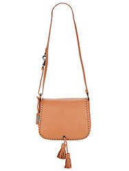 Badgley Mischka Tiffany Leather Crossbody Saddle Bag Cognac