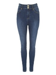 Jane Norman High Waist Button Skinny Jeans Denim Indigo