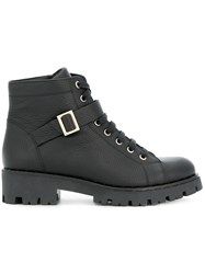 Tosca Blu Lace Up Buckled Boots Black