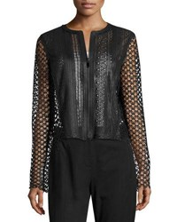 Elie Tahari Gavin Lace Trim Leather Jacket Black