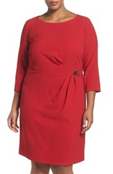 Tahari Plus Size Women's Buckle Detail Three Quarter Sleeve Sheath Dress Lipstick Red
