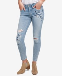 Silver Jeans Co. Izzy Ripped Embroidered Skinny Indigo