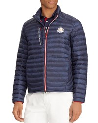 Ralph Lauren Usa Ryder Cup Camouflage Print Quilted Down Jacket Blue