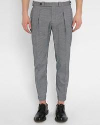 Carven Black White Chevron Pattern Belted Dart Fitted Trousers