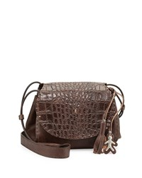 Molly Small Croc Stamped Messenger Bag Taupe Brown Henry Beguelin