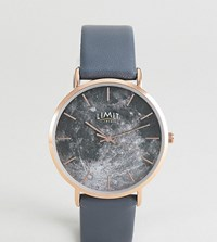 Limit Moon Dial Faux Leather Watch In Grey Exclusive To Asos 38Mm