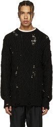 Miharayasuhiro Black Distressed Cable Knit Sweater