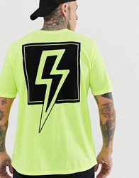 Bolongaro Trevor Neon Lightening Back Print T Shirt Yellow