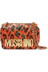 Moschino Embossed Printed Quilted Leather Shoulder Bag Multi