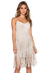 Bcbgmaxazria Fringe Dress Beige