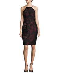 Vera Wang Lace Topped Halterneck Dress Plum
