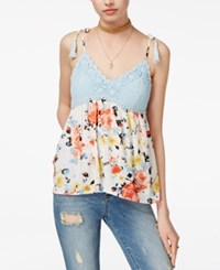 American Rag Juniors' Printed Crochet Trim Swing Tank Top Only At Macy's Egret Combo