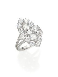 Meira T Pave Diamond White Topaz And 14K White Gold Ring