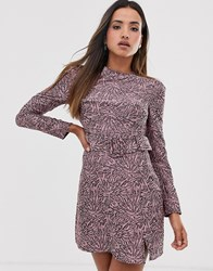 Fashion Union Structured Bodycon Dress In Abstract Print With Belt Detail Pink