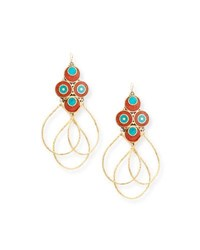 Devon Leigh Turquoise And Coral Triple Hoop Earrings Gold