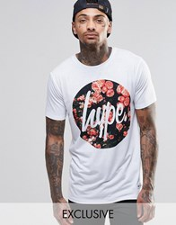 Hype T Shirt With Rose Script Logo White