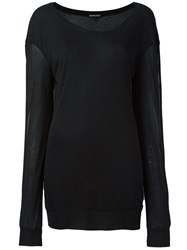 Ann Demeulemeester Round Neck Sheer Jumper Black
