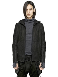 Alexandre Plokhov Hooded Grained Nubuck Bomber Jacket Black