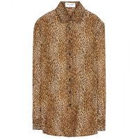 Saint Laurent Printed Silk Shirt Noir Camel