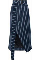 279dd6b47777ab Solace London Apolline Striped Wool And Cotton Blend Wrap Skirt Navy
