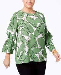 Alfani Plus Size Ruffle Sleeve Top Only At Macy's Green Colorblock Leaves