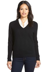Women's Nordstrom Collection Double V Neck Cashmere Sweater Black
