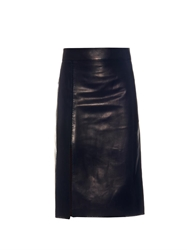Nina Ricci Split Panel Leather Midi Skirt