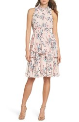 Eliza J Floral Ruffle Dress Blush