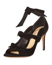 Alexandre Birman Charlotte Suede Three Strap Pump Black